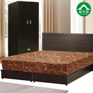 【品生活】簡約優質四件式房間組2色可選-雙人(床頭片+床底+衣櫥+日式護背彈簧床)