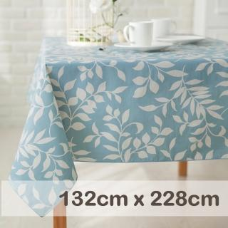 【CasaBella 美麗家居】防水桌巾 淺藍月桂葉 132x228cm