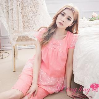 【lingling日系】PA2941全尺碼-接點點網紗皺感布短袖二件式睡衣組(少女深粉)
