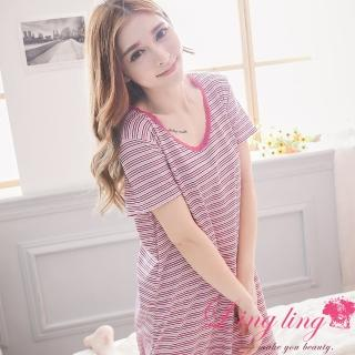 【lingling日系】PA2968大尺碼-橫條紋棉質短袖連身裙睡衣(浪漫紫粉)