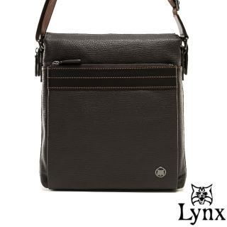 【Lynx】山貓真皮經典款極品型男直式斜背包(大款)