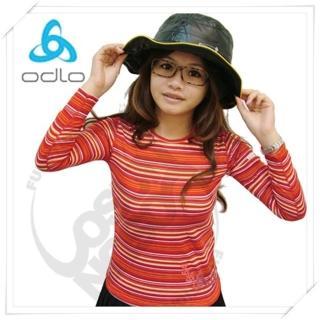 【瑞士 ODLO】新色 effect 兒童.女頂極機能型銀離子保暖內衣.兒童圓領衛生衣(紅條紋 150169)