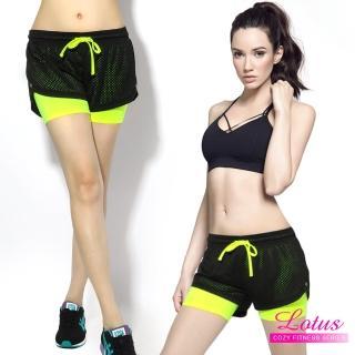 【LOTUS】百搭彈力排汗透氣網布防走光造型運動短褲(螢光黃)
