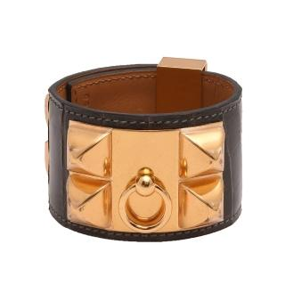 【HERMES】collier de chien金屬鉚釘亮面鱷魚皮寬版手環(S-咖啡X金H066305CC-BROWN-GP)   Hermes 愛馬仕