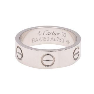 【CARTIER】卡地亞 經典LOVE RING 18K白K金婚戒(B4084753#53)