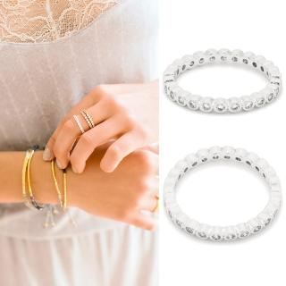 【GORJANA】美國品牌 CANDICE SHIMMER 銀色細版戒指(整圈鑲圓鑽式設計)