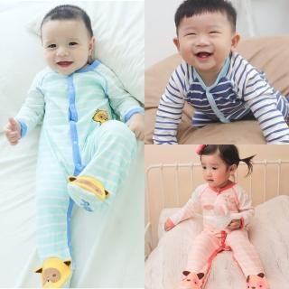 【baby童衣】連身衣 動物條紋包腳爬服 60163(共3色)