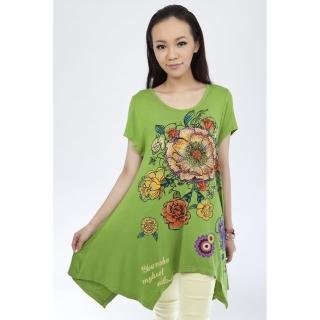 【Delicacy】大尺碼顯瘦專科涼棉長上衣加大組(綠色)