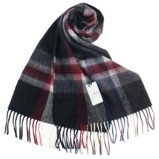 【S.T.Dupont】刺繡LOGO格紋混紡羊毛流蘇圍巾(黑灰色)
