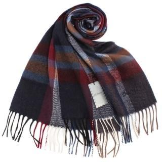 【S.T.Dupont】刺繡LOGO格紋混紡羊毛流蘇圍巾(深藍色)