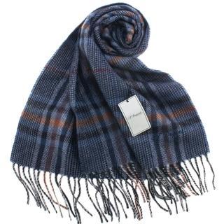 【S.T.Dupont】刺繡LOGO細格紋混紡羊毛流蘇圍巾(深藍色)