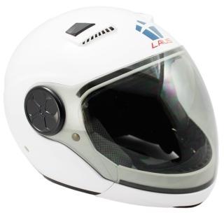 LAUS全罩下巴可拆式內置墨鏡素色安全帽-白色(12H)
