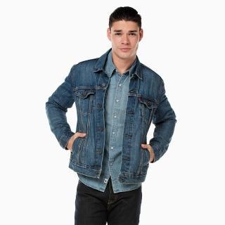 【Levis】男款淺藍水洗修身牛仔外套
