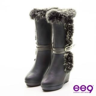 【ee9】心滿益足-奢華兔毛滾邊獨家造型跟中筒靴-高貴灰(中筒靴)