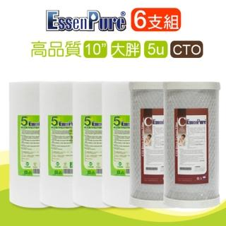 【EssenPure】高品質10英吋大胖濾心(5u PP+CTO 6支組)