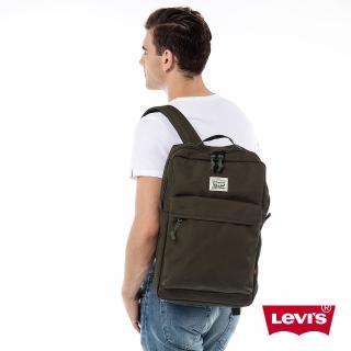 【Levis】男款經典雙馬車標誌印花軍綠色後背包