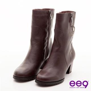 【ee9】都會佳麗-造型拉鍊金屬釦真皮中筒粗跟靴-優雅咖(中筒粗跟靴)