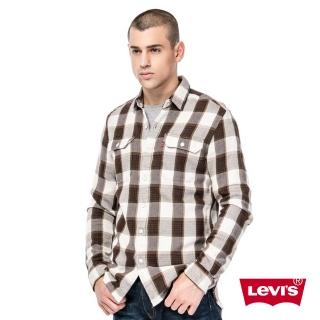 【Levis】男款純棉紅棕條紋長袖襯衫