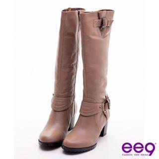 【ee9】完美主義-皮帶釦時尚美型曲線粗跟長靴-魅力可可(粗跟長靴)