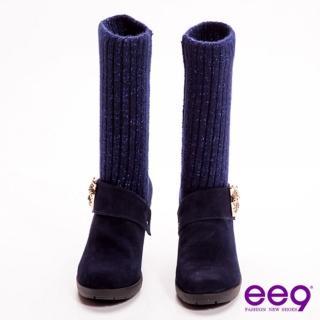 【ee9】知性貴族-2way金蔥毛線金屬豹頭飾釦粗跟中筒靴-時尚藍(中筒靴)