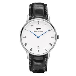 【DW Daniel Wellington】Dapper 時尚皮革腕錶-銀框/34mm(DW00100117)