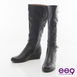 【ee9】率性都會-皮帶環釦纏繞百搭楔型長靴*黑色(長靴)