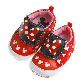 【布布童鞋】Disney迪士尼米妮紅色蝴蝶結印花寶寶學步鞋(MAY252A)