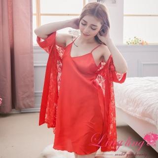 【lingling日系】PA2901全尺碼-蕾絲花網紗罩衫睡袍+緞面V領細肩睡裙二件式睡衣組(熱情紅)