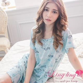 【lingling日系】PA2977全尺碼-小貓卡通印花愛心短袖連身裙睡衣(輕爽藍綠)
