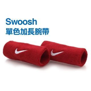 【NIKE】SWOOSH 加長型 運動腕帶-籃球 網球 排羽球 一雙入(紅白)