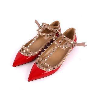 ~VALENTINO~牛皮尖頭二環ROCKSTUDS平底鞋^(莓紅色^)
