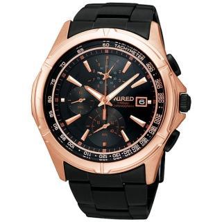 【ALBA】WIRED 絕地爭霸三眼計時腕錶-玫塊金/IP黑/40mm(7T82-X002X)