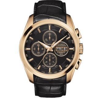 【TISSOT】天梭 建構師系列三眼計時機械腕錶-黑x玫塊金/43mm(T0356143605101)