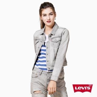 【Levis】女款經典短版牛仔夾克外套 / 破壞 / 白灰