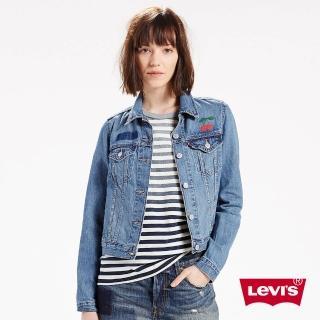 【Levis】女款經典短版牛仔夾克外套 / 刺繡 / 櫻桃