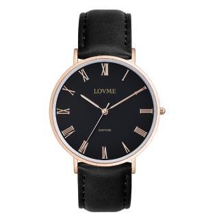 【LOVME】羅馬學院風時尚手錶-IP玫x黑/41mm(VL3012M-43-341)