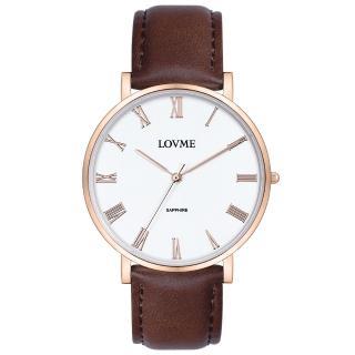 【LOVME】羅馬學院風時尚手錶-IP玫x白/38mm(VL3012B-43-241)