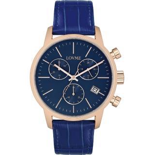 【LOVME】城市獵人個性時尚手錶-IP玫x藍/43mm(VL0051M-4B-L41)