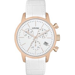 【LOVME】城市獵人個性時尚手錶-IP玫x白/43mm(VL0051M-42-241)