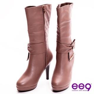 【ee9】心滿益足-英倫美人超柔軟真皮蝴蝶結美型高跟中筒靴-氣質可可(中筒靴)