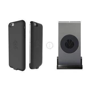【HOMI】MultiDock 鋁鎂合金多功能QI無線充電座+iPhone6/6s 4.7吋 防摔防震無線保護殼(組合)