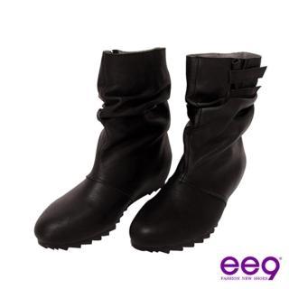 【ee9】簡約抓皺魔術貼內增高羊皮中筒靴-俐落黑(中筒靴)