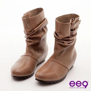 【ee9】簡約抓皺魔術貼內增高羊皮中筒靴-百搭可可(中筒靴)