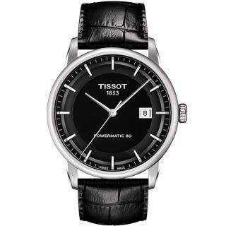 【TISSOT】天梭 LUXURY 動力儲存80機械腕錶-黑/41mm(T0864071605100)