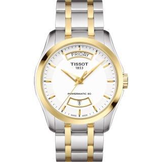 【TISSOT】天梭 建構師 Powermatic 80 機械腕錶-白x雙色/39mm(T0354072201101)