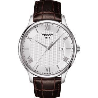 【TISSOT】Tradition 羅馬經典大三針石英腕錶-銀x咖啡/42mm(T0636101603800)