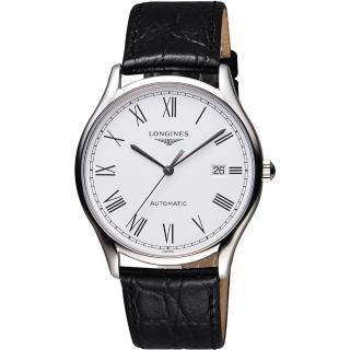 【LONGINES】浪琴 Lyre琴韻系列羅馬機械腕錶-白/38mm(L49604112)