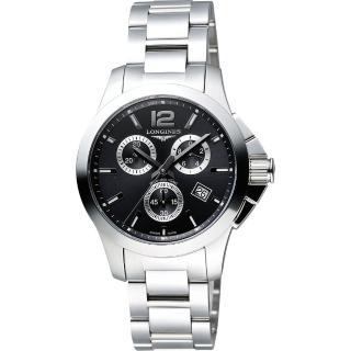 【LONGINES】浪琴 Conquest 征服者300米潛水計時腕錶-黑/36mm(L33794566)