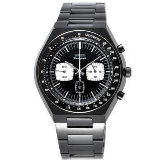 【ALBA】WIREDTomoki Models 都會三眼計時腕錶-IP黑(7T11-X006SD)