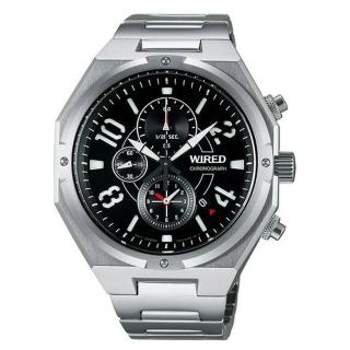 【ALBA】WIRED 個性潮男神秘黑時尚三眼計時腕錶(7T92-X254D / AF8R77X1)